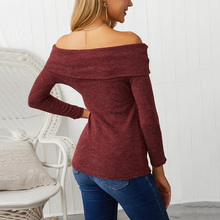 Load image into Gallery viewer, Maternity Fashion Sexy Pure Color Open Shoulder Sweater