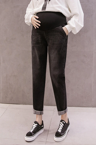 Maternity Fashion Casual Solid Color Jeans