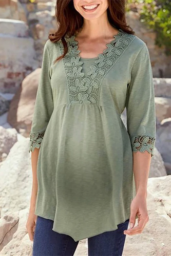 Maternity Fashion Casual V-Neck Lace Stitching T-Shirts