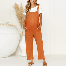 Load image into Gallery viewer, Maternity Vintage Round Neck Short Sleeve Pure Colour Jumpsuits