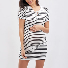 Load image into Gallery viewer, Maternity V-Neck Lace-Up Printed Shift Casual Dress