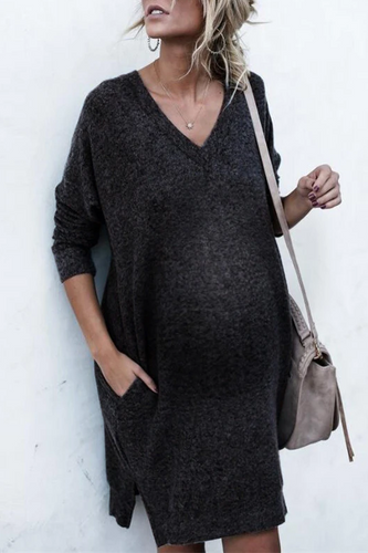 Maternity Fashion Casual V-neck Long-sleeved Casual Dress