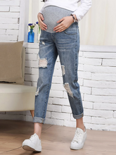 Load image into Gallery viewer, Maternity Fashion Loose Hole Straight Jeans