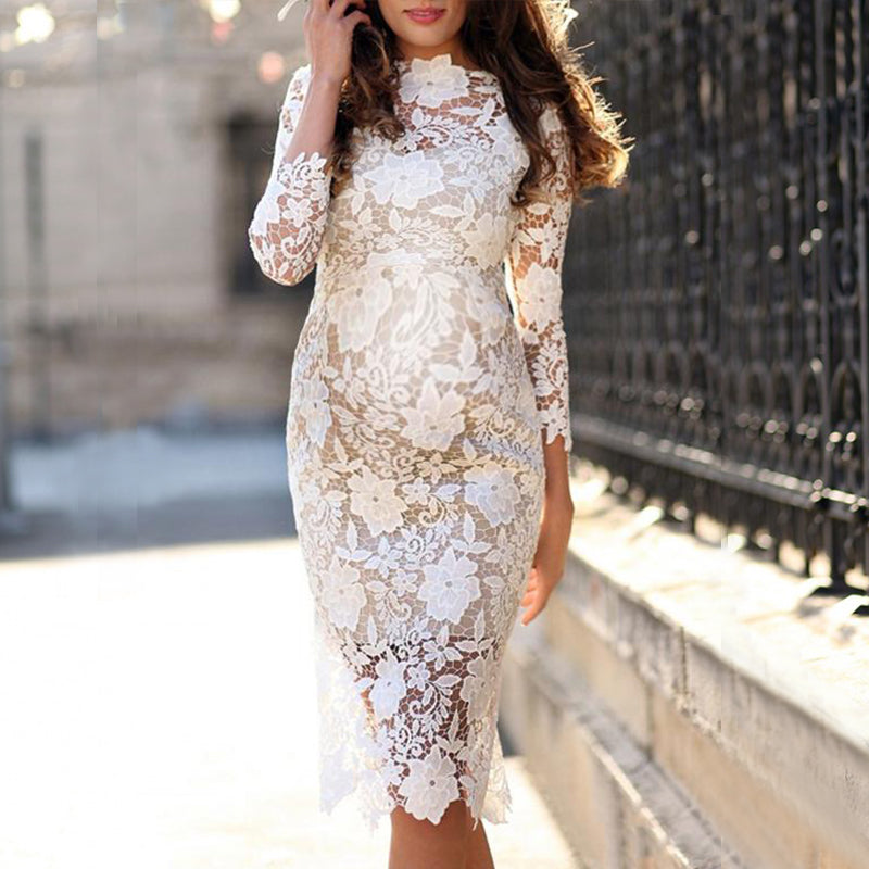Maternity Lace Long Sleeve Sheath Dress