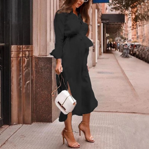 Maternity Solid Color V-Neck Long Sleeve Midi Dress