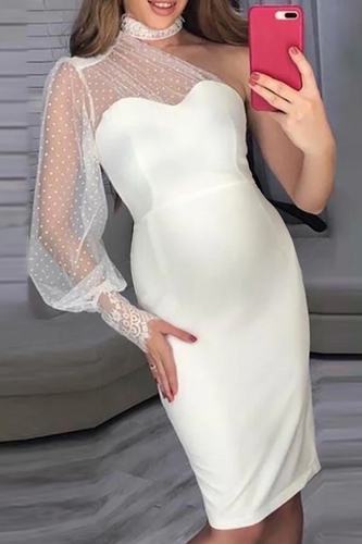Maternity Elegant Mesh Lantern Sleeve Mini Bodycon Dress