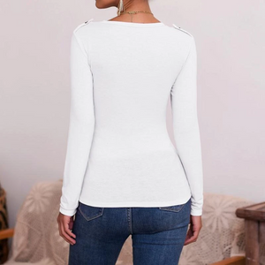 Maternity V-Neck Button Solid Color Long-Sleeved T-Shirts