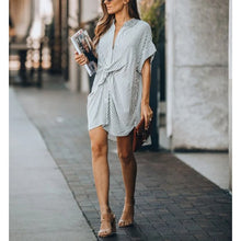Load image into Gallery viewer, Maternity striped button down shirt dress