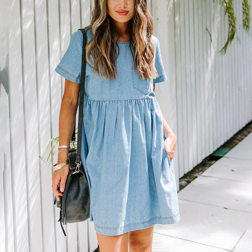 Maternity Pocketed Denim Babydoll Dress