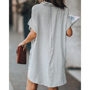 Maternity striped button down shirt dress
