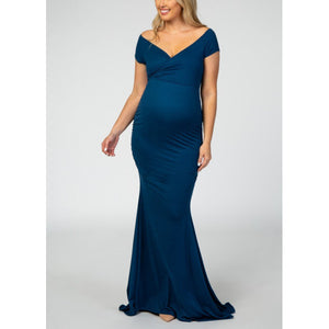 Maternity Dark Teal Off Shoulder Wrap Photoshoot Gown Dress