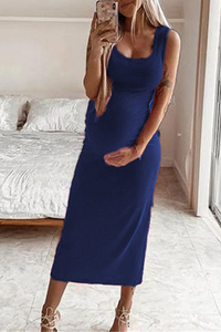 Maternity Casual Solid Color Sleeveless Bodycon Dress