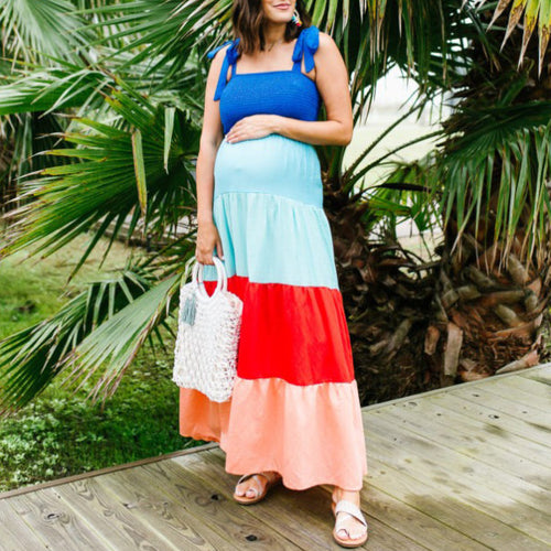 Maternity Rainbow Maxi Dress