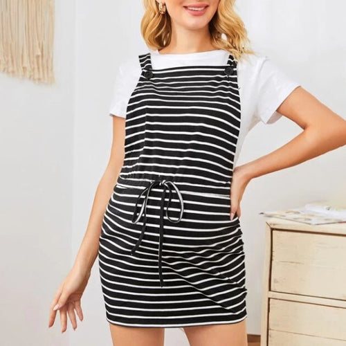Maternity Buttoned Strap Drawstring Waist Striped Overall Dress