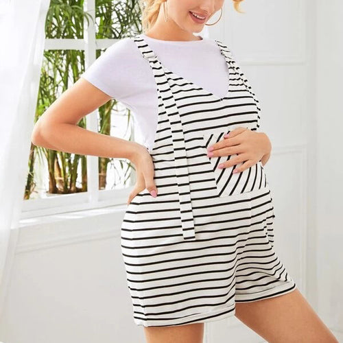 Maternity Patch Pocket Striped Overall Shorts