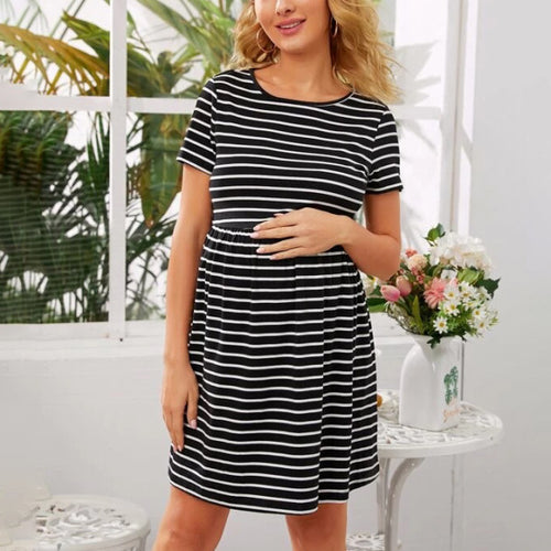 Maternity Elastic Waist Striped Dress