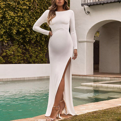 Maternity Sexy High Slit Plain Floor-length Dress