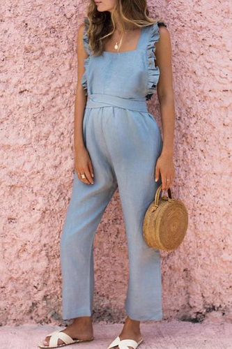 Maternity Ruffled Backless Sexy Linen Jumpsuits