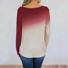 Load image into Gallery viewer, Fashion Gradient Round Neck Long Sleeve T-shirts