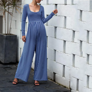 Maternity Sexy Wide Leg Long Sleeve Striped Jumpsuits