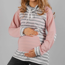 Load image into Gallery viewer, Fashion Stylish Kangaroo Pocket Stripe Maternity Hoodie