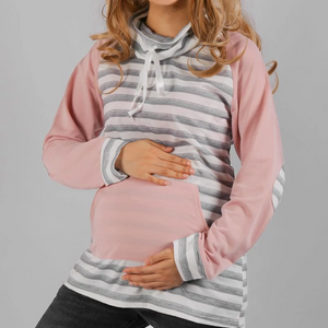 Fashion Stylish Kangaroo Pocket Stripe Maternity Hoodie