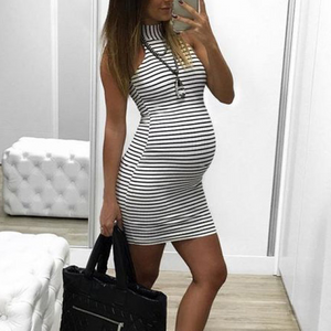 Maternity Fashion Casual Stripes Sleeveless Bodycon Dress