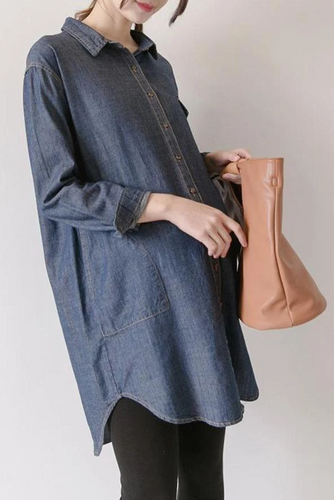 Maternity Fashion Long Sleeve Solid Color Casual Dress