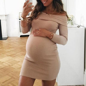 Maternity Elegant Off Shoulder Long Sleeve Knitted Bodycon Dress