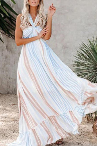 Maternity Angel Island Striped Maxi Dress