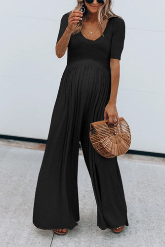Maternity Solid Color Short Sleeve Wide Leg Jumpsuits