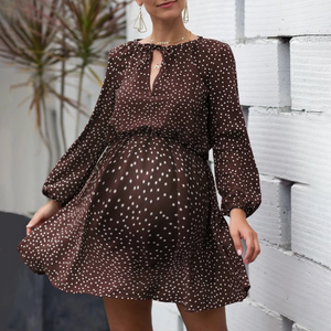 Maternity V-Neck Long-Sleeve Dot Printing Dress