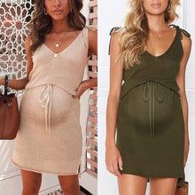 Load image into Gallery viewer, Maternity Plain V-Neck Casual Above Dress