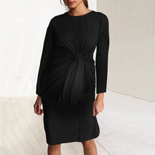 Load image into Gallery viewer, Maternity Pure Color Long Sleeved Bodycon Dress