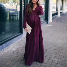 Load image into Gallery viewer, Maternity Fashion Solid Color Long Maxi Dress