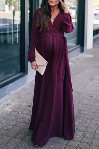 Maternity Fashion Solid Color Long Maxi Dress
