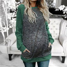 Load image into Gallery viewer, Maternity Color Block Raglan Long Sleeve T-Shirts