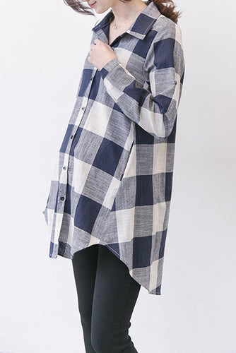 Maternity Fashion Casual Plaid Button Long Sleeve Blouse