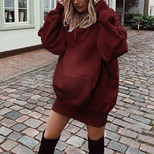 Maternity Pure Color Long Sleeve Hoodie Dress