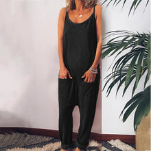 Load image into Gallery viewer, Maternity Plain Spaghetti Strap Loose Jumpsuits