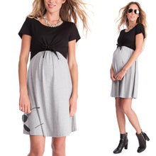 Load image into Gallery viewer, Maternity Summer Short Sleeve Color Block Maternity Dress Breastfeeding Lace Up Nursing Dress