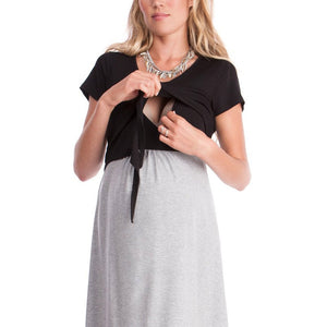 Maternity Summer Short Sleeve Color Block Maternity Dress Breastfeeding Lace Up Nursing Dress
