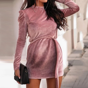 Maternity Fashion Solid Color Lace Round Neck Long Sleeve Dress
