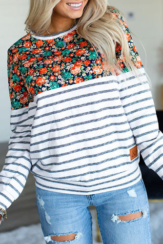 Maternity Stripe Floral Print Long Sleeve T-Shirts
