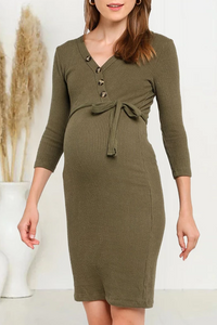 Maternity Pure Color Single-breasted Belted Knit Dress