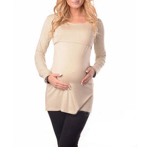 Maternity Solid Color Long Sleeve Nursing T-Shirts