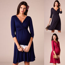 Load image into Gallery viewer, Deep V-neck Fashion Party Evening Dress Maternity Nursing Dress