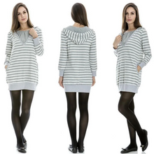 Load image into Gallery viewer, Maternity Fashion Casual Striped Nursing Long Sleeve Hoodies