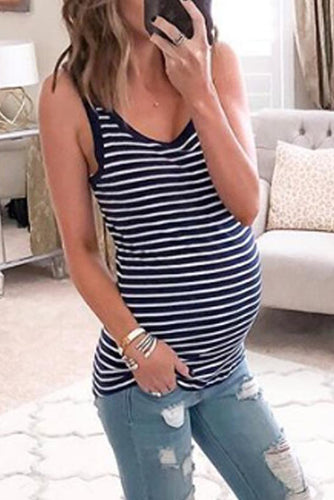 Maternity Casual Stripe Camis&Vests