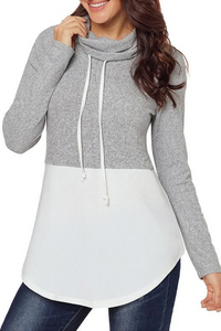 Maternity Color-Blocking Cloak High Collar String Long Sleeves Sweatershirts